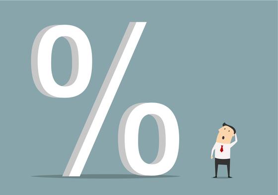 대출 금리는 오르고 예금 금리는 떨어지며 예대금리차는 2018년 1월 이후 최고치를 기록하고 있다. 셔터스톡