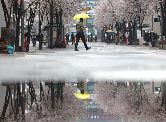 봄비가 내린 지난달 28일 서울 서대문구 연세로에서 시민들이 우산을 쓰고 걷고 있다. 연합뉴스