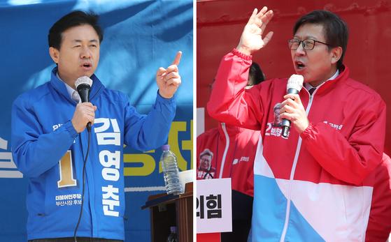 선거운동 중인 더불어민주당 김영춘 부산시장 후보와 국민의 힘 박형준 후보. 송봉근 기자