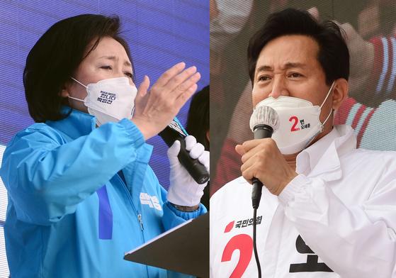 4·7 재보선 사전투표를 하루 앞둔 1일 박영선 더불어민주당 후보(왼쪽)와 오세훈 국민의힘 후보가 서울 양천구와 성북구에서 각각 집중유세를 하고 있다. 뉴스1
