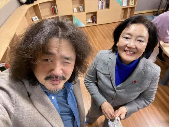 박영선 더불어민주당 서울시장 후보 (오른쪽)와 방송인 김어준. [사진 SNS 캡처]