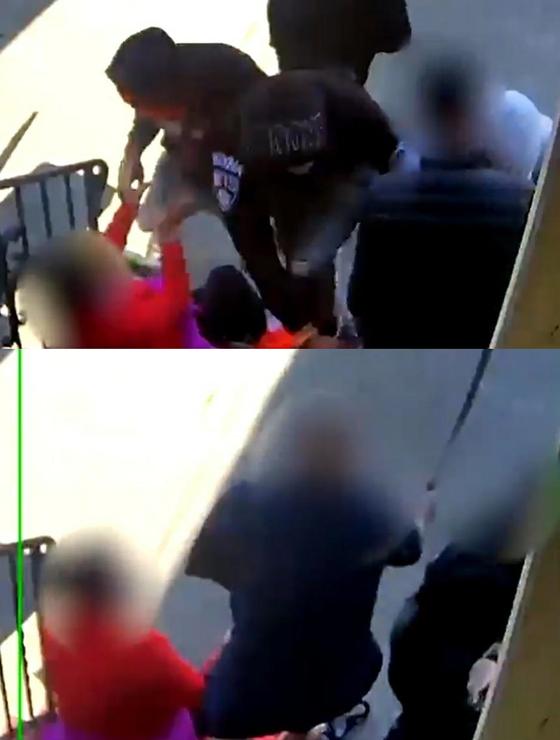 아시아계 노부부 금품 뺏는 미국 강도들과 긴 칼을 들고 쫓아나온 아들 모습. 현지 언론인 디온 림 트위터 영상 갈무리=연합뉴스