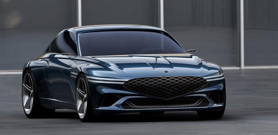 현대차가 지난달 31일 공개한 전기차 기반 GT 콘셉트카 제네시스 엑스. [사진 현대차]