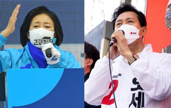 지난 6일 박영선 더불어민주당 서울시장 후보(왼쪽)와 오세훈 국민의힘 서울시장 후보(오른쪽)가 각각 서울 종로구 동화면세점 앞과 노원구 상계백병원 앞 사거리에서 유세를 갖고 지지를 호소하고 있다. 뉴스1