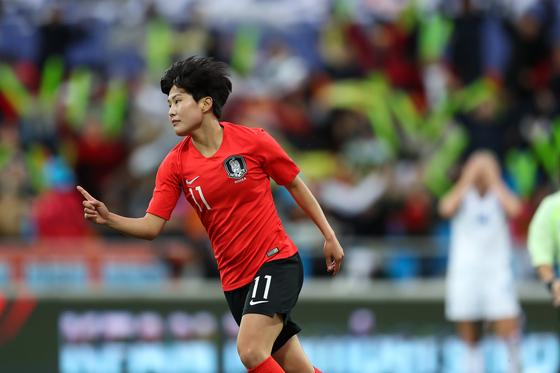 2020 도쿄 올림픽 티켓에 도전하는 여자 축구대표팀의 에이스 지소연. 대한축구협회 제공