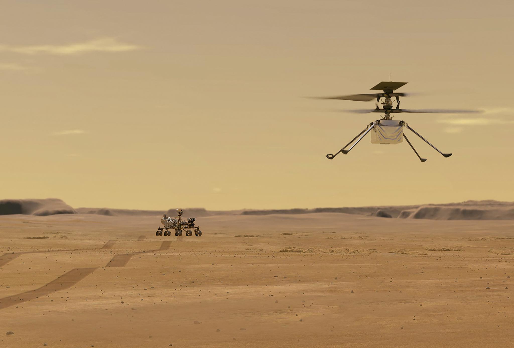 인저뉴어티가 화성 상공을 비행하는 상상도. 비록 소형이고 잠시 낮게 비행할 뿐이지만 인류가 지구 밖에서 비행체를 띄우는 의미있는 이정표 될 전망이다. AFP=연합뉴스