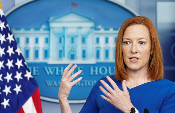 젠 사키 백악관 대변인이 7일 브리핑룸에서 정례 브리핑을 하고 있다. [로이터=연합뉴스]