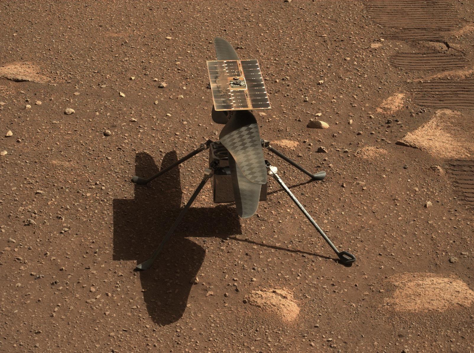 화성 탐사 로버 퍼서비어런스가 로보트 팔에 부착된 카메라로 촬영한 초소형 헬기 인저뉴어티. AFP=연합뉴스