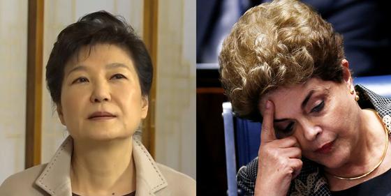 브라질과 한국, 두 나라 모두 사상 첫 여성 대통령이 탄핵당한 공통점이 있다. 사진 중앙포토(왼쪽), 로이터=연합뉴스(오른쪽)