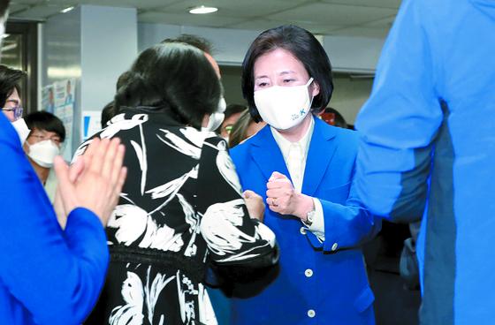 더불어민주당 박영선 서울시장 후보가 7일 오후 보궐선거 결과를 받아들인다고 밝혔다. [국회사진기자단]