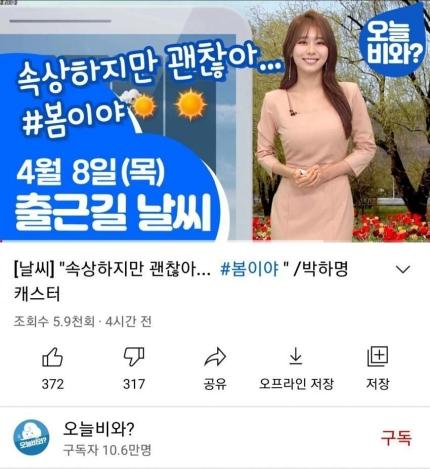 4·7 재보궐선거 다음 날인 8일 MBC가 운영하는 날씨 유튜브 채널에 올라온 영상. '속상하지만 괜찮아'라는 제목이 논란이 되자 현재는 삭제됐다. 사진 유튜브