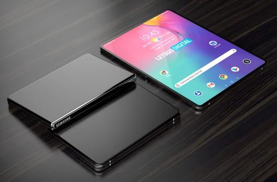 삼성전자의 디자인 특허를 바탕으로 IT매체 레츠고디지털이 렌더링한 폴더블 태블릿PC의 이미지. [사진 레츠고디지털]
