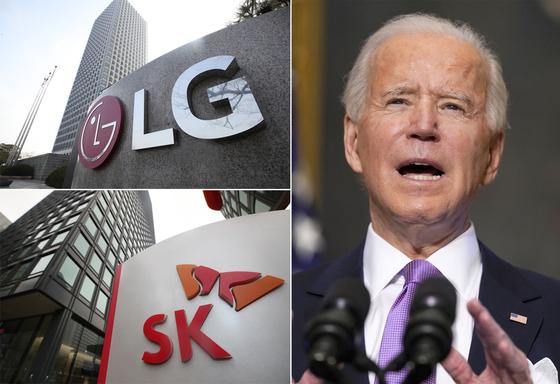 서울 LG와 SK 본사 건물 전경(왼쪽). 오른쪽 사진은 조 바이든 미국 대통령. [연합뉴스]