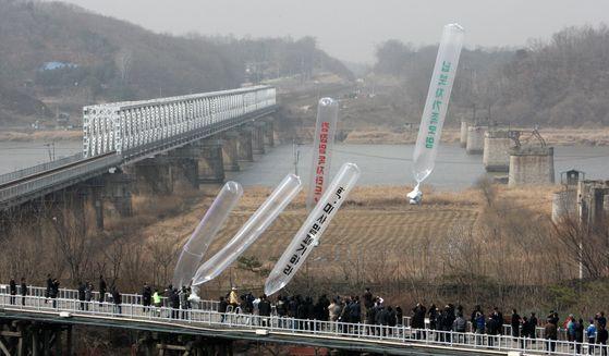 지난 2009년 납북자가족모임, 자유북한운동연합 등이 경기도 파주 임진각에서 대북 전단을 날려보내는 모습 [중앙포토]