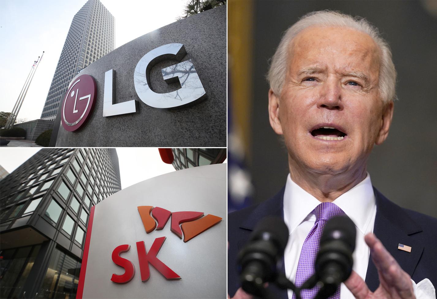 서울 LG와 SK 본사 건물 전경(왼쪽). 오른쪽 사진은 조 바이든 미국 대통령. 연합뉴스