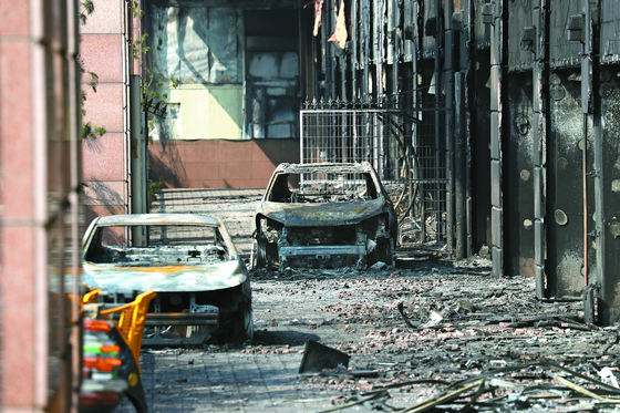 [사진] 남양주 화재 … 전소된 차량