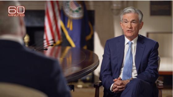 제롬 파월 미 연방준비제도(Fed) 의장이 11일(현지시간) CBS방송 시사프로그램 '60분'과 인터뷰하고 있다. [CBS 캡처]