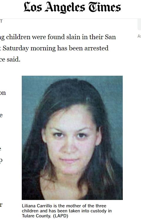 자녀 3명을 살해한 혐의를 받고 있는 용의자 릴리아나 카리요. 인터넷 캡처