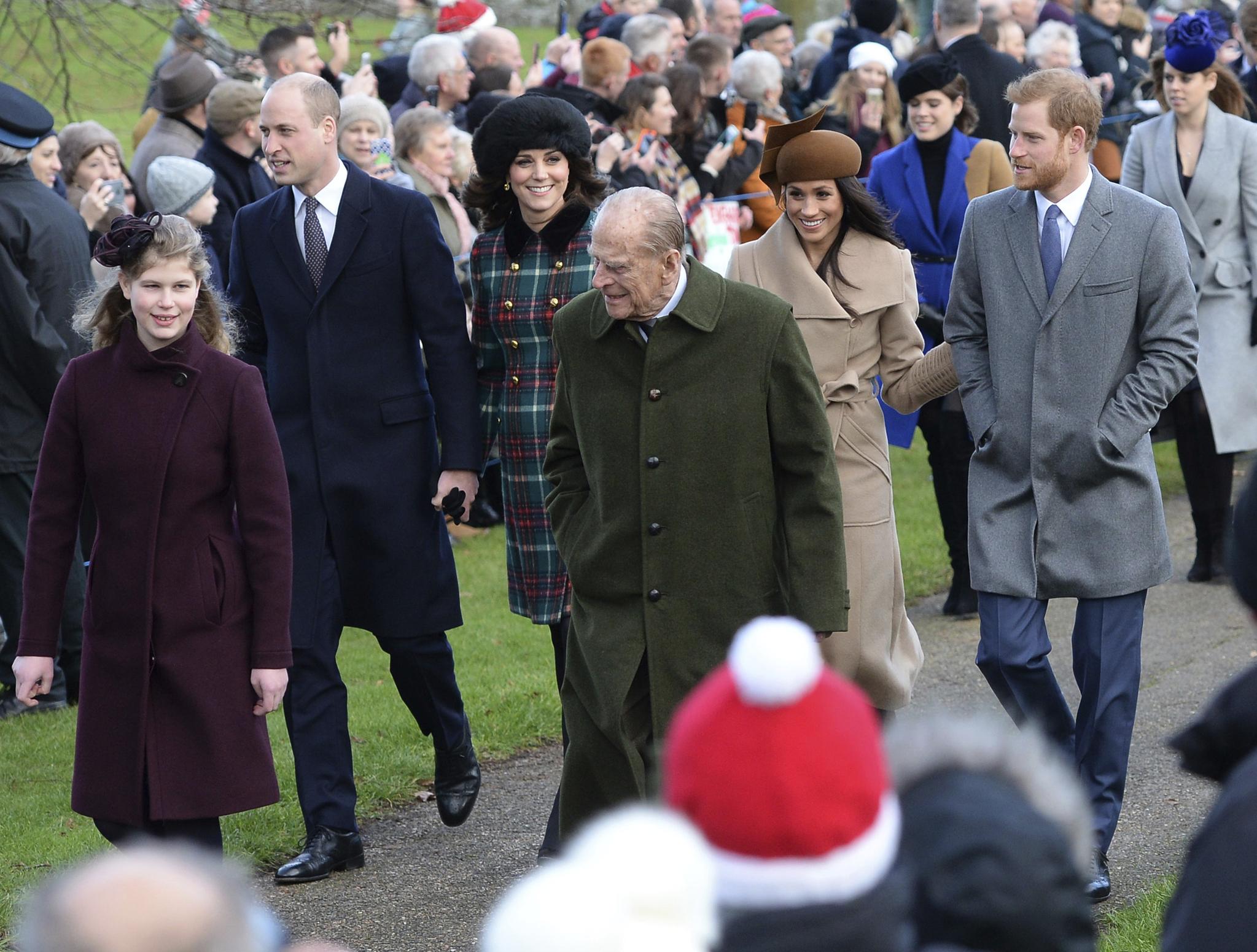 윌리엄 왕세손 부부와 해리 왕자 부부, 엘리자베스 2세 영국 여왕의 남편 필립공(가운데). AP=연합뉴스