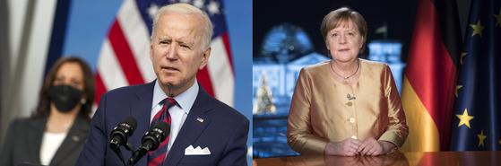 조 바이든 미국 대통령과 앙겔라 메르켈 독일 총리 [EPA]