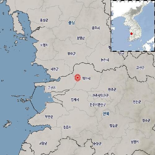 13일 오후 9시 56분 15초 전북 익산시 북북서쪽 9km 지역에서 규모 2.0의 지진이 발생했다고 기상청이 밝혔다. [기상청 제공]