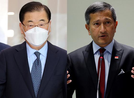 정의용 외교부 장관(왼쪽)과 비비안 발라크리쉬난 싱가포르 외교부 장관. 로이터=연합뉴스