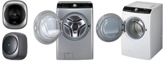 SGC솔루션에서 생산납품하는 '세탁기 도어 글라스'(도어 안쪽 볼록한 부분)가 탑재된 위니아전자 세탁기 모델. 왼쪽이 소용량, 오른쪽이 대용량 드럼세탁기다. 사진 SGC솔루션