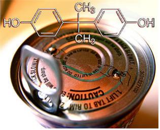 비스페놀A의 화학구조식. 캔 제품 안쪽을 코팅하는 데도 비스페놀A가 사용된다.