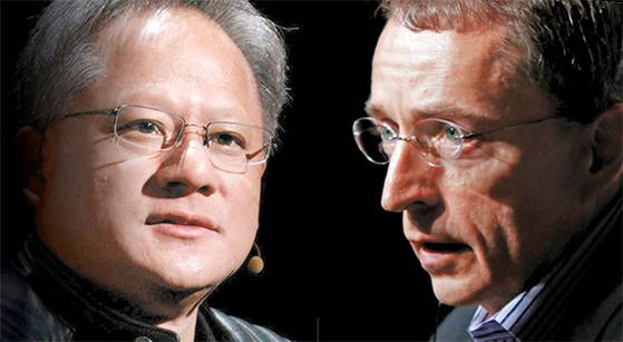 젠슨 황 CEO(左), 팻 겔싱어 CEO(右)