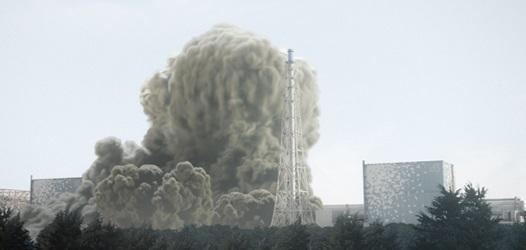 2011년 3월 12일 후쿠시마 재1원전 1호기에서 수소폭발이 일어나 흰 연기가 피어오르고 있다.