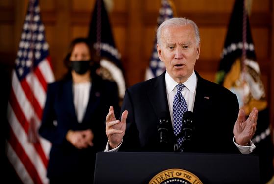 조 바이든 미국 대통령이 조지아주 애틀랜타에서 연설을 하고 있다. 로이터=연합뉴스