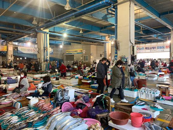 14일 오전 경북 포항시 죽도어시장에서 방문객들이 수산물을 둘러보고 있다. 김정석 기자