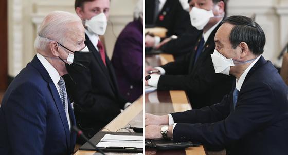 조 바이든(왼쪽) 미국 대통령과 스가 요시히데(菅義偉) 일본 총리가 지난 16일(현지시간) 미국 워싱턴DC 백악관에서 확대 정상회담을 하고 있다. [연합뉴스]