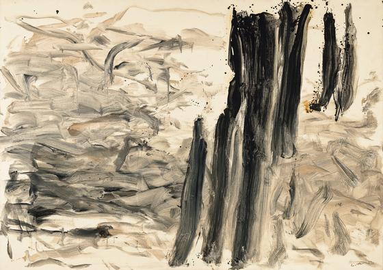 이우환,바람과 함께, oil and mineral pigment on canvas, 161.5x227cm(150), 1990, [사진 서울옥션]
