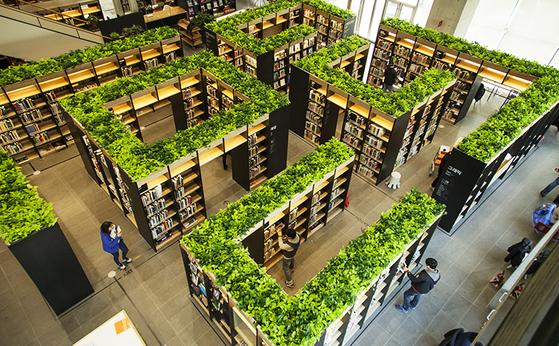 회사를 상징하는 녹색으로 디자인된 네이버 분당 본사 '그린팩토리' 내부. 사진 네이버