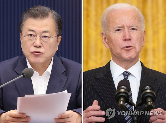 문재인 대통령(왼쪽)과 조 바이든 미국 대통령. 연합뉴스