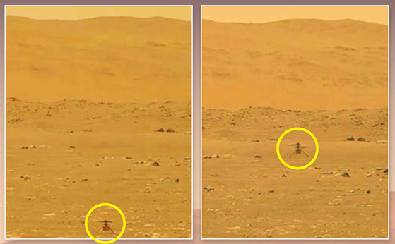 미국 항공우주국의 무인 소형 헬기 인저뉴어티가 19일 화성 상공에서 첫 비행에 성공했다. 이륙 전(왼쪽)·후(오른쪽)의 인저뉴어티. [AP=연합뉴스]