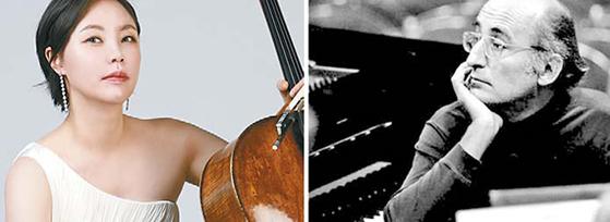 클래식 음악 역사상 유명한 괴짜인 피아니스트 겸 작곡가 프리드리히 굴다(오른쪽)와 그가 1980년 작곡한 첼로 협주곡을 한국 최초로 녹음한 첼리스트 김민지. [사진 스테이지원, 중앙포토]