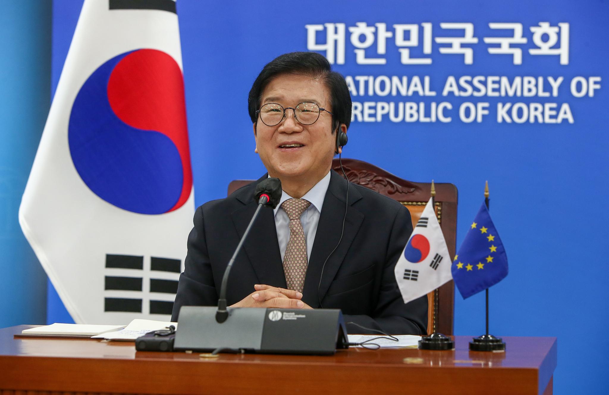 박병석 국회의장이 20일 국회에서 사쏠리 유럽의회 의장과 화상회담을 하고 있다. 오종택 기자