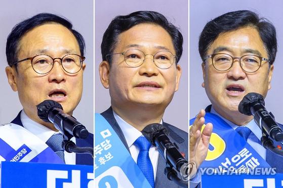 민주당 당권주자인 홍영표(왼쪽부터), 송영길, 우원식 후보. 연합뉴스
