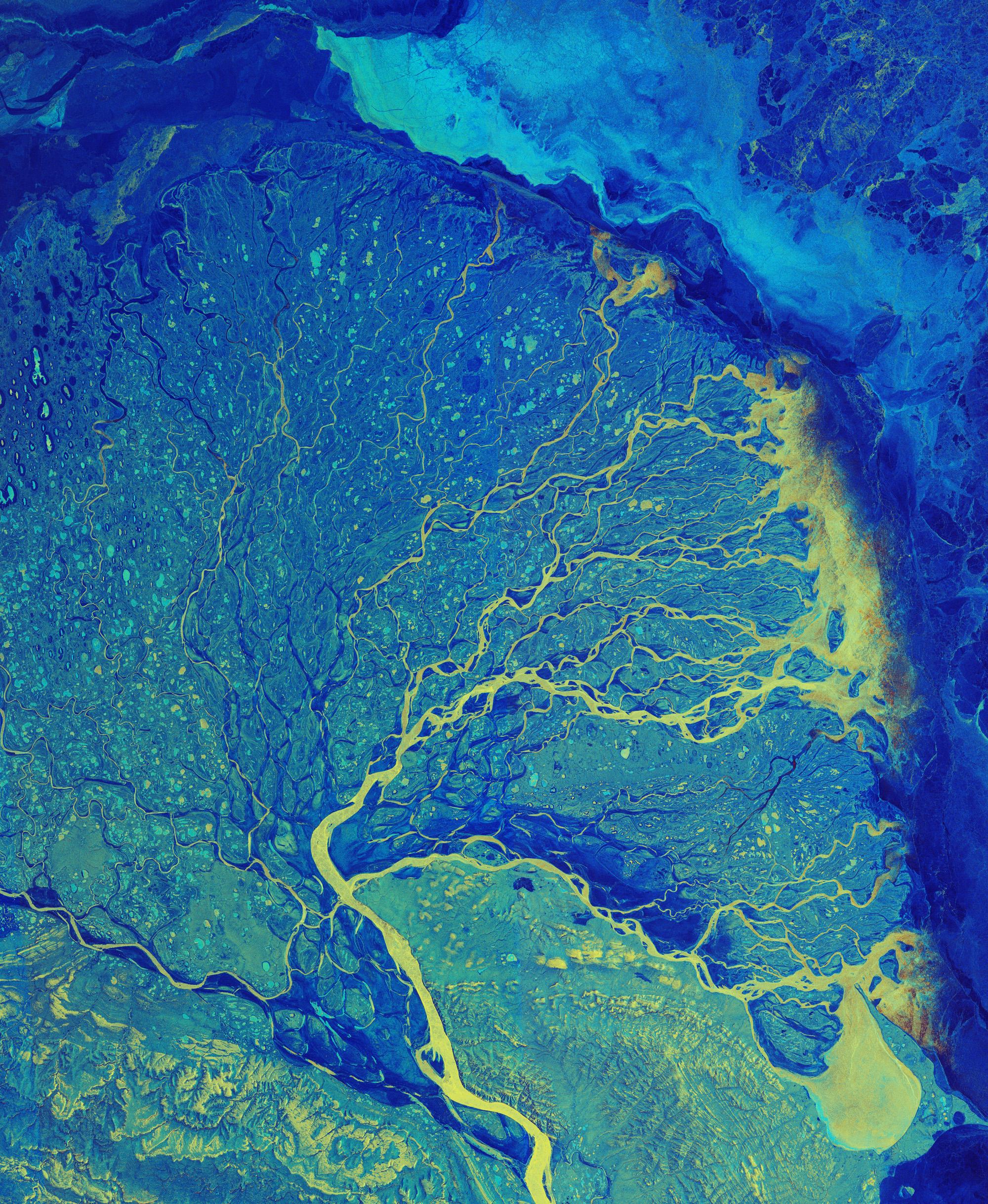 시베리아 레나강 삼각주. 유럽우주국