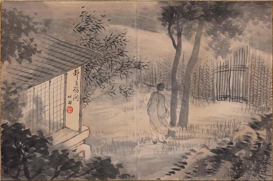 바람 부는 가을밤 정취를 감각적으로 표현한 안중식의 '성재수간(聲在樹間, 왼쪽)', 종이에 수묵담채. 1910년대 그린 것으로 추정된다. [사진 예화랑]