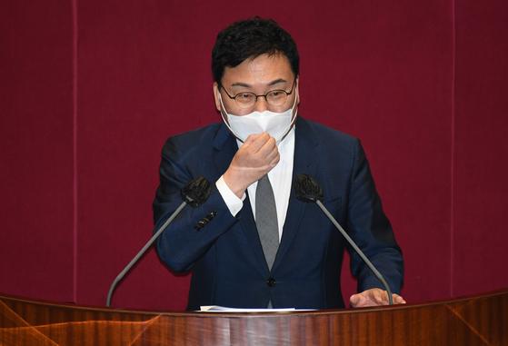 21일 국회에서 열린 제386회국회(임시회) 제3차 본회의에서 무소속 이상직 의원이 본인의 체포동의안에 대한 신상발언을 하고 있다. 오종택 기자