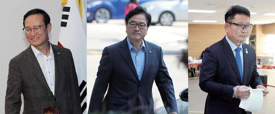 5월 2일 열리는 민주당 전당대회에서 당대표 선거를 준비하고 있는 후보들. 왼쪽부터 홍영표·우원식·송영길 의원.