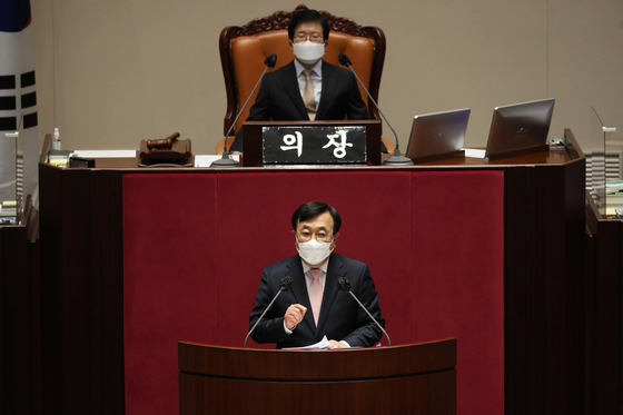 서병수 국민의힘 의원이 20일 서울 여의도 국회 본회의에서 열린 경제 분야 대정부질문에서 발언하고 있다. 오종택 기자