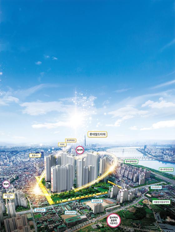 서울 '강남 4구'에 주변 시세의 절반 수준에 공급 중인 암사 한강 조망도. 공급가가 주변 시세보다 50%이상 낮은 데다, 조합원 물량에 대해선 분양가 상한제가 적용되지 않아 주목을 받고 있다.