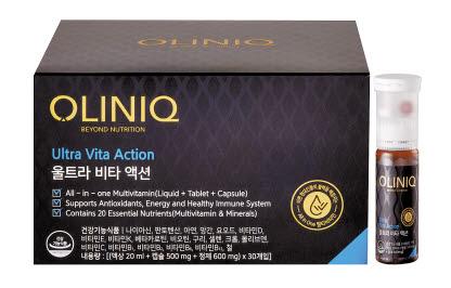 '올리닉 울트라 비타 액션'은 액상·캡슐·정제가 한 병에 담긴 고농축 멀티비타민 제품이다. [사진 동원F&B]