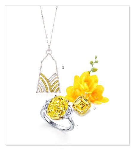 1.옐로우 다이아몬드와 반달모양의 다이아몬드가 세팅된 반지 2.옐로우 다이아몬드가 포인트로 장식된 목걸이 3. 옐로우 다이아몬드 나석. [사진 소노모보에]