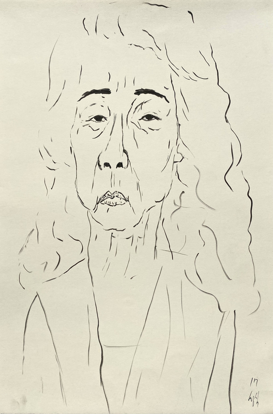 〈Old Actress: Yoon Yeo-jeong Eskis〉 by Sung-Sik Moon, a quick sketch of actor Yoon Yeo-jung. Sung-Sik Moon 2017, Ink on Paper, 56.8x38cm [이미지 제공: 문성식]