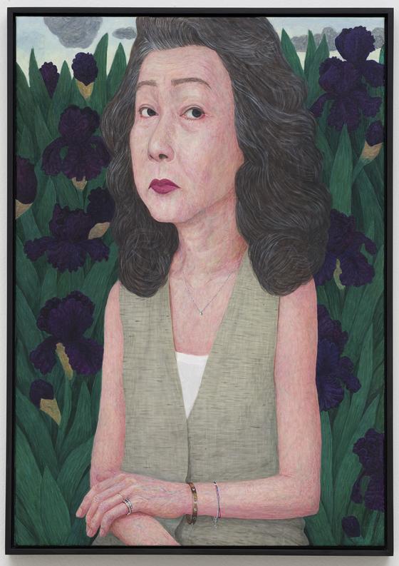 문성식(b.1980) 〈꽃과 여자 5〉 2017 Acrylic on canvas 65 x 46 cm 중국미술연구소 소장, 사진: 권오열, 이미지 제공: 국제갤러리